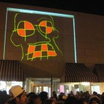 Cory Peak artwork at Shine Live Drawing Projection Exhibit - Muscatine Holiday Stroll