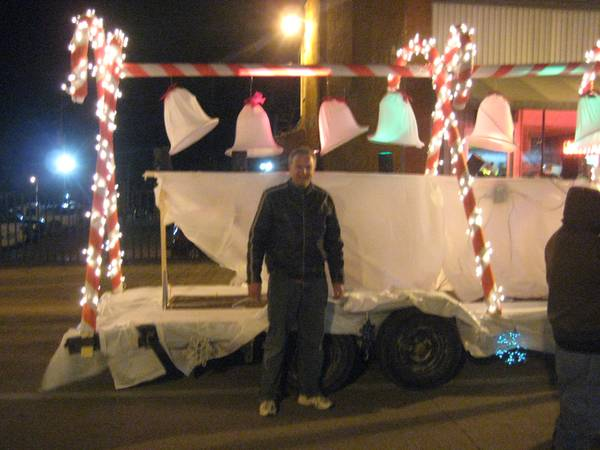 Flynn Collier Karaoke float Muscatine Holiday Stroll Lighted Parade